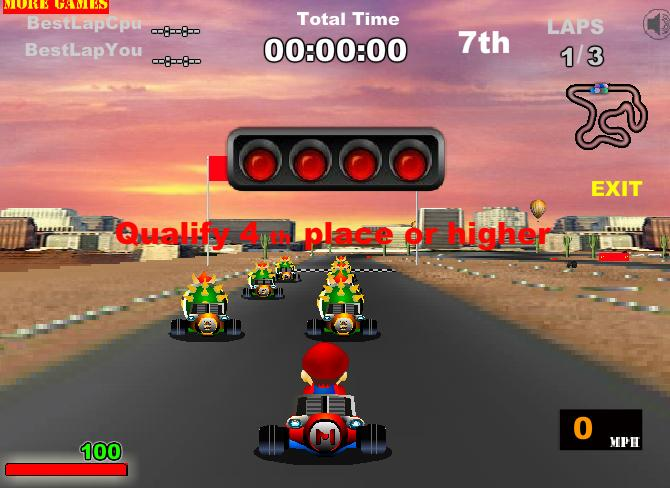 Chơi game huyền thoại xe Kart Mario
